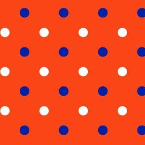 Royal blue and orange team color polka dot Orange