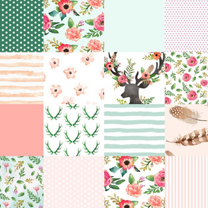 Floral Dreams Deer - Whole Cloth / Cheater Quilt