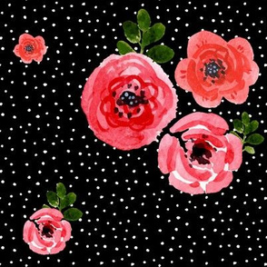Roses - Watercolor White Polka Dots  / Black Background