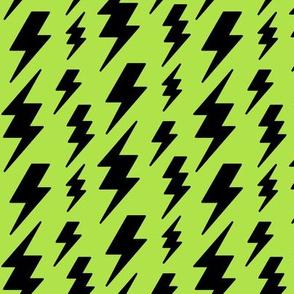 lightning bolts black on lime green » halloween
