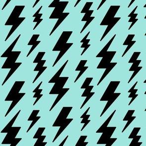 lightning bolts black on light baby teal blue » halloween