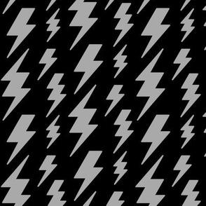 lightning bolts light slate grey on black » halloween - monochrome
