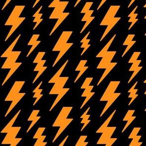 lightning bolts orange on black » halloween