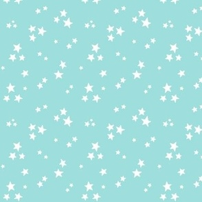 starry white on light baby teal blue » halloween stars