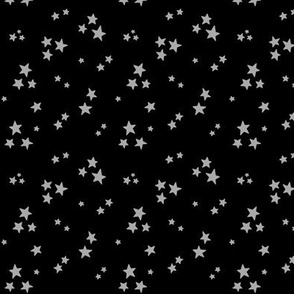 starry light slate grey on black » halloween - monochrome stars