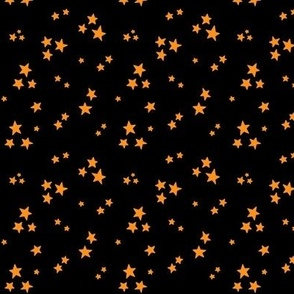 starry orange on black » halloween stars