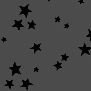 starry LG black on dark grey » halloween - monochrome stars