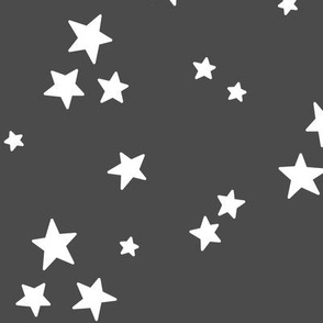 starry LG white on dark grey » halloween - monochrome stars