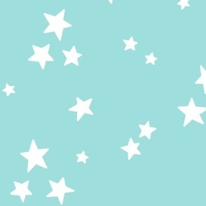 starry LG white on light baby teal blue » halloween stars