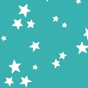 starry LG white on teal blue » halloween stars