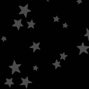starry LG dark grey on black » halloween - monochrome stars