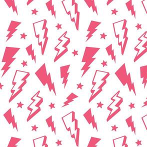lightning + stars hot pink on white bolts