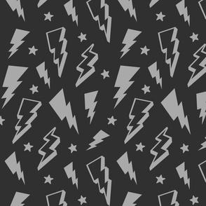 lightning + stars light grey on dark grey monochrome bolts
