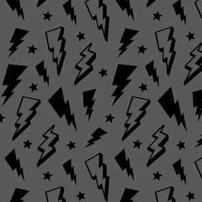 lightning + stars black on grey monochrome bolts