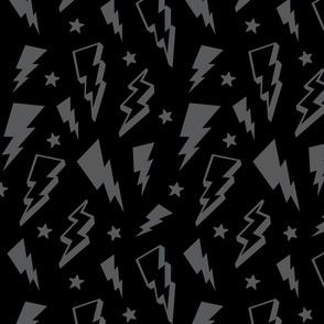 lightning + stars grey on black monochrome bolts