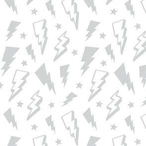 lightning + stars light grey on white monochrome bolts