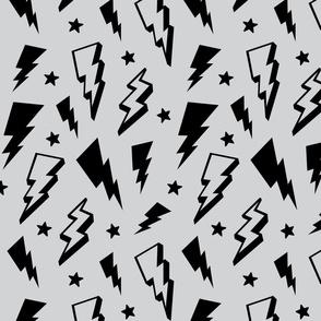 lightning + stars black on light grey monochrome bolts