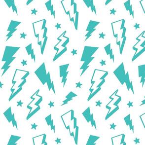 lightning + stars teal blue on white bolts