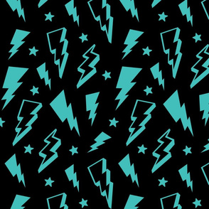 lightning + stars teal blue on black bolts
