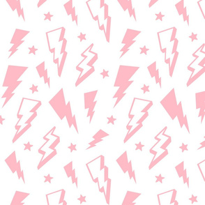 lightning + stars light baby pink on white bolts