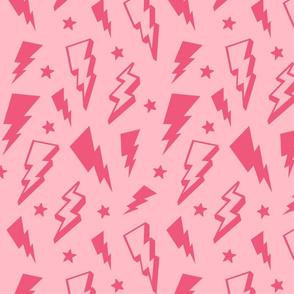 lightning + stars hot pink on light baby pink monochrome bolts