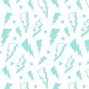lightning + stars light baby teal blue on white bolts