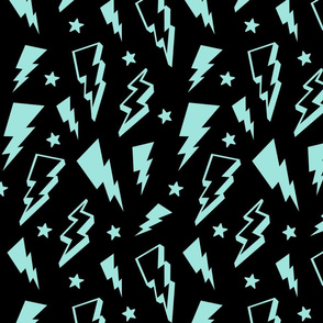 lightning + stars light baby teal blue on black bolts