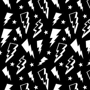 lightning + stars white on black monochrome bolts