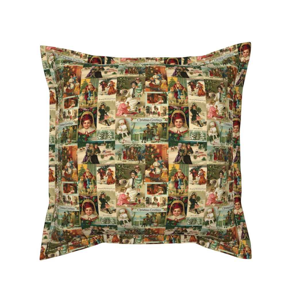 Serama Throw Pillow featuring Vintage Victorian Christmas Collage by yesterdaycollection