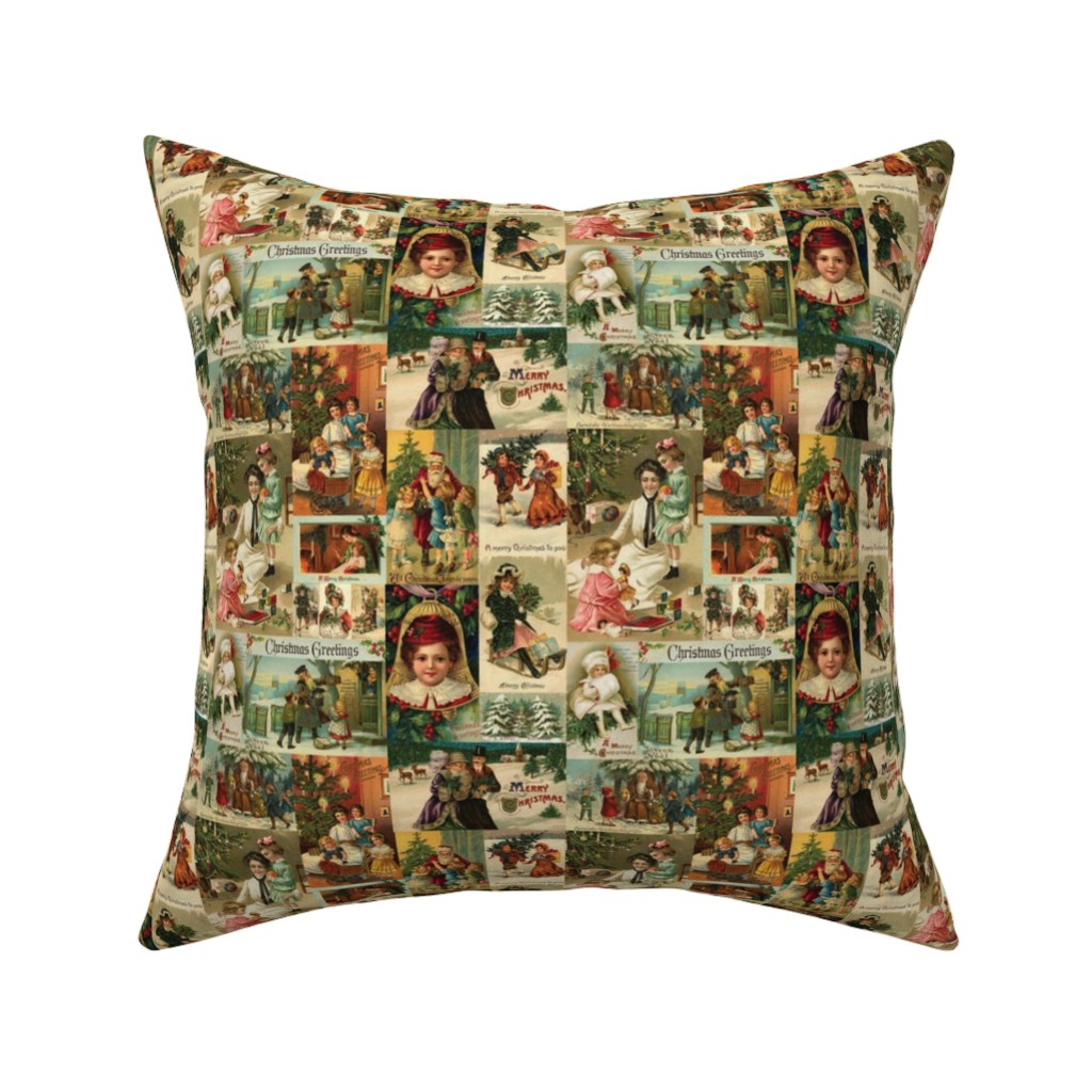 Catalan Throw Pillow featuring Vintage Victorian Christmas Collage by yesterdaycollection