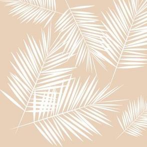 Palm leaf - white on nude Palm leaves Palm tree tropical plants summer