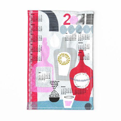 2021 time for a drink tea towel calendar