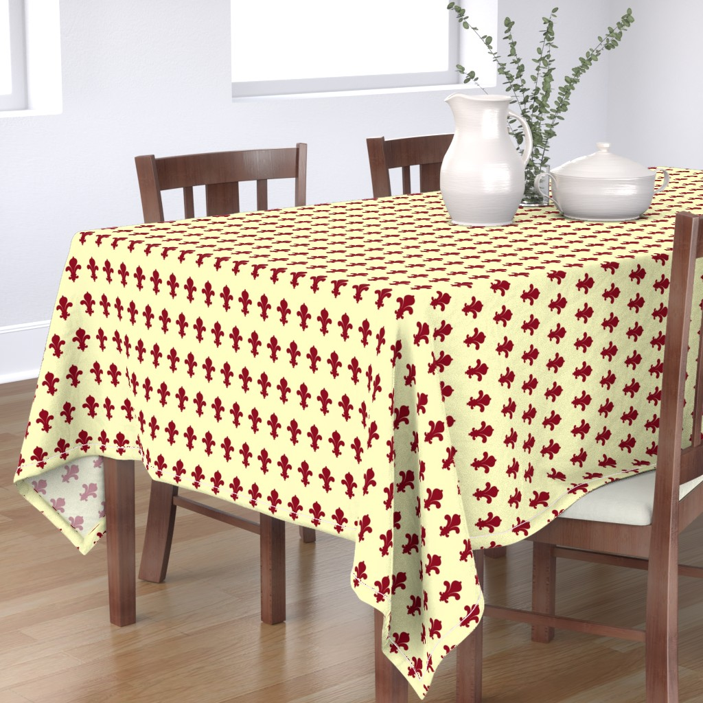 Bantam Rectangular Tablecloth featuring FleursDeLysPatternColour2 by floramoon