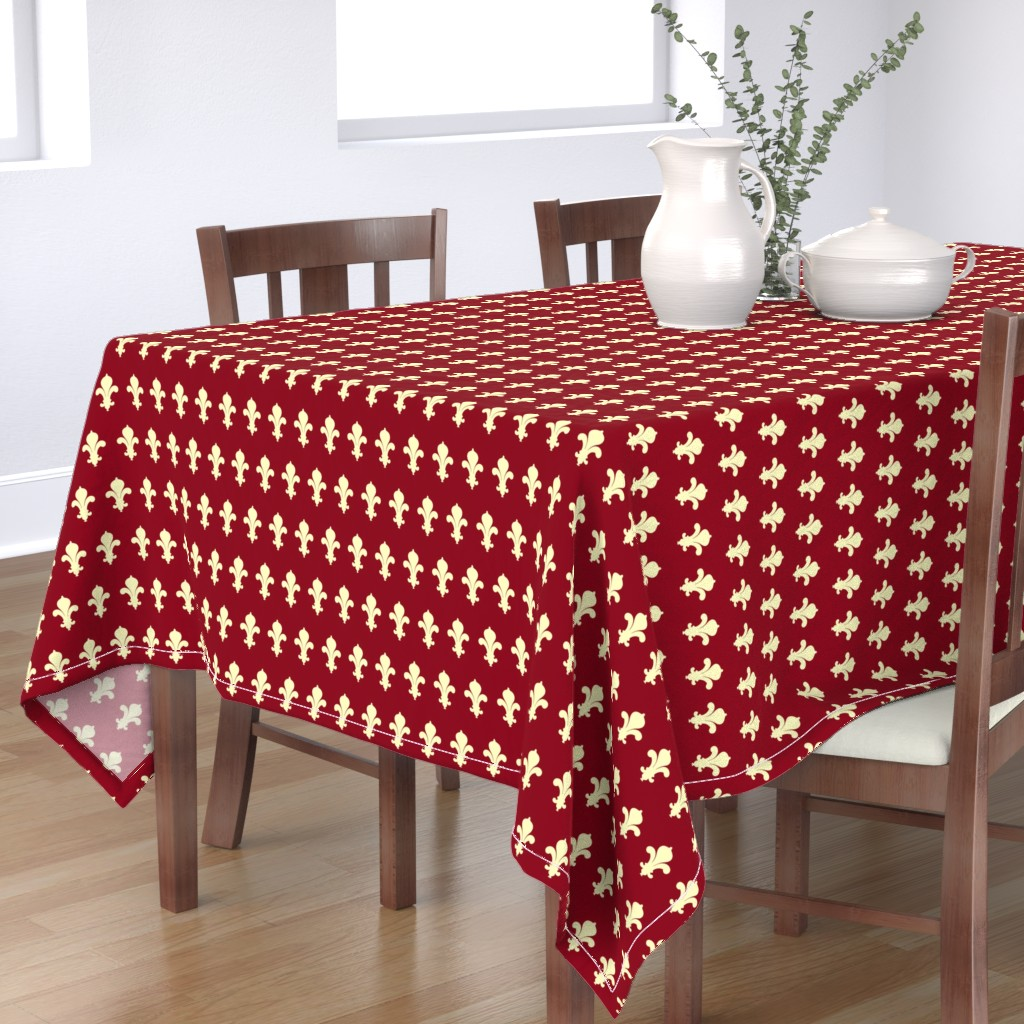 Bantam Rectangular Tablecloth featuring FleursDeLysPatternColour1 by floramoon