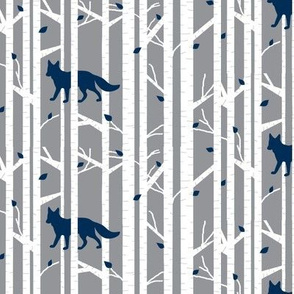 Into the woods - Fox// navy on grey