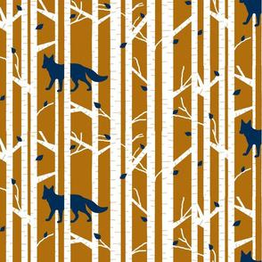 Into the woods - Fox// navy on burnt orange