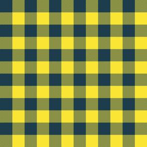 "1.5"" parka check - yellow and navy"