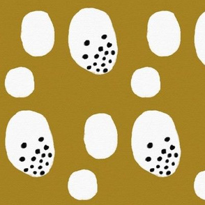 Watercolor abstract - monochrome and golden mustard black dots