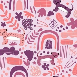 Rainbow Jungle, Jungle Cat - Pink