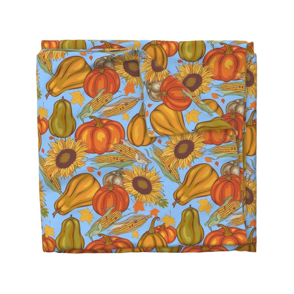 Wyandotte Duvet Cover featuring pumpkin_and_corn by minyanna