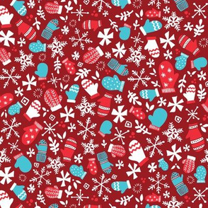 Mitten Montage Petite - Deep Berry Red + White + Blue - winter holiday Christmas Snowflakes