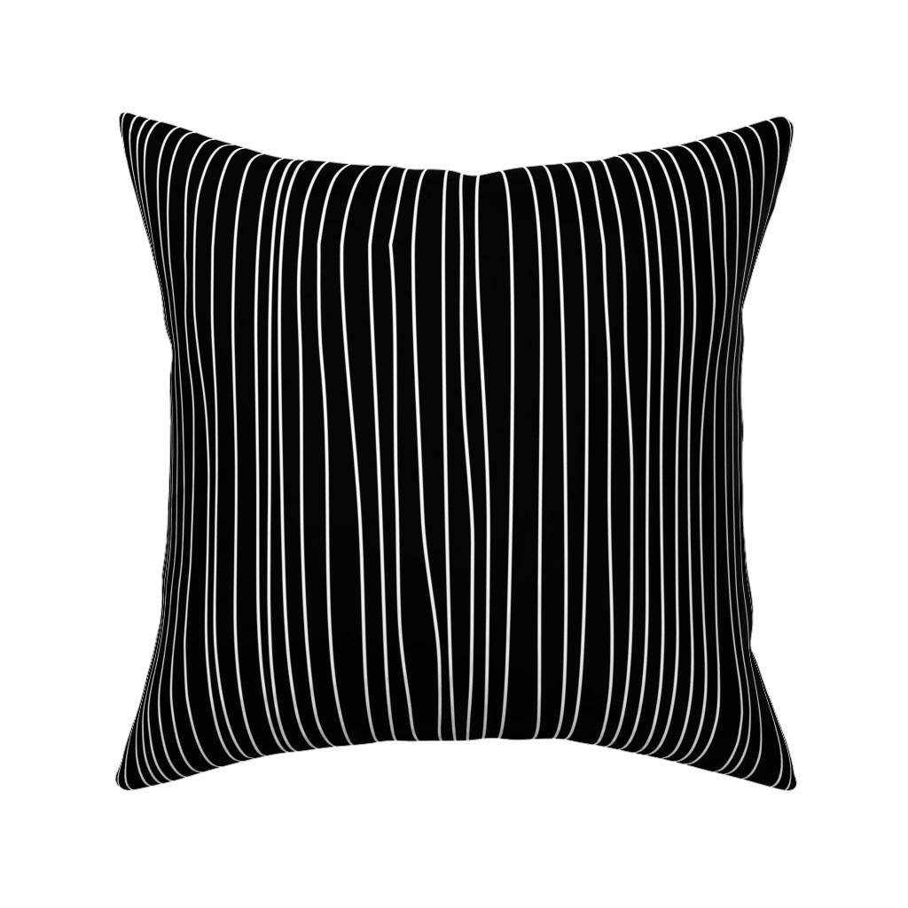 Catalan Throw Pillow featuring Jack Stripe Black and White by ellegarrettdesigns