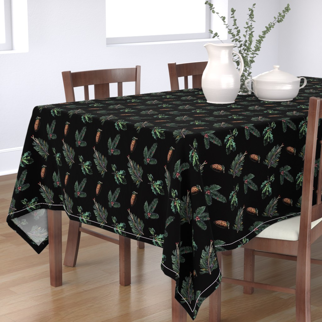 Bantam Rectangular Tablecloth featuring Winter Foliage in Coal Black by elliottdesignfactory