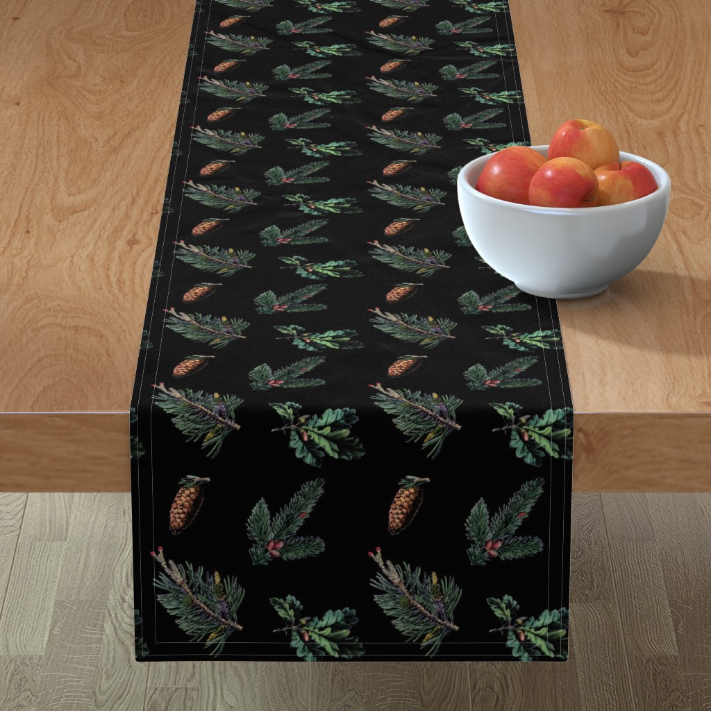 Minorca Table Runner featuring Winter Foliage in Coal Black by elliottdesignfactory