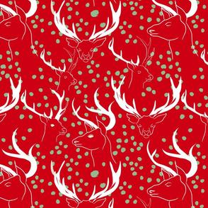 red pattern of christmas deer