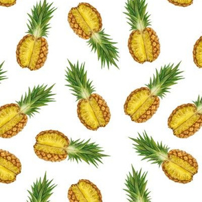 pineapples white background