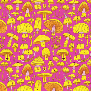 Fun Fungi -Funny Quirky Nature Mushroom Party - Pink Yellow Orange