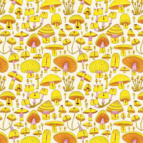 Fun Fungi -Funny Quirky Nature Mushroom Party - Pink Yellow Orange Cream