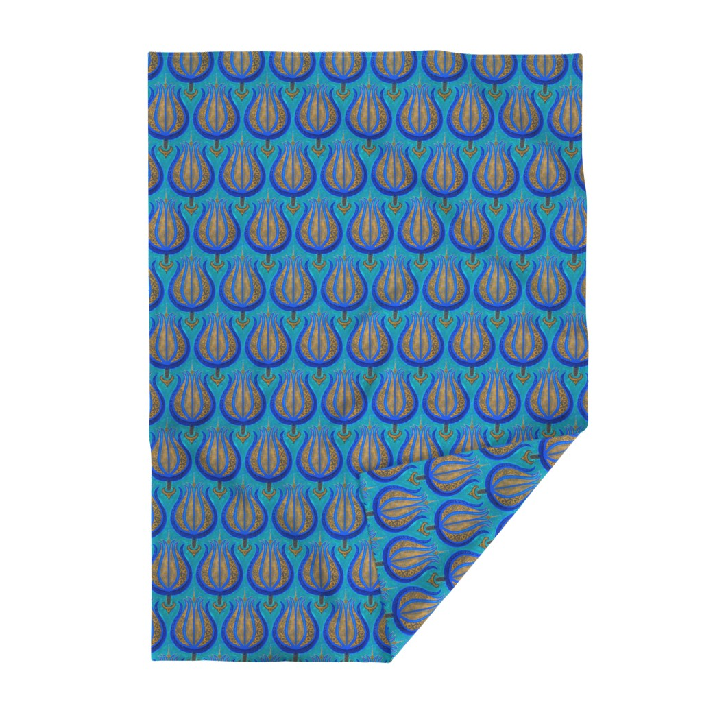 Lakenvelder Throw Blanket featuring GIANT Tulips woven in old gold on cerulean blue by Su_G_©SuSchaefer by su_g