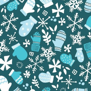 Mitten Montage Large - Deep Blue Frost + White- winter holiday Christmas Snowflakes - boy christmas